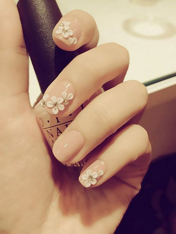 uñas decoradas con flores 3d