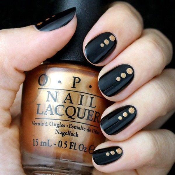 uñas negras con dorado 2016