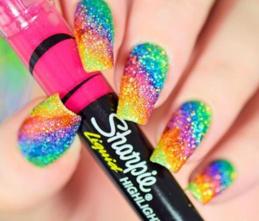 colores en uñas con sharpie
