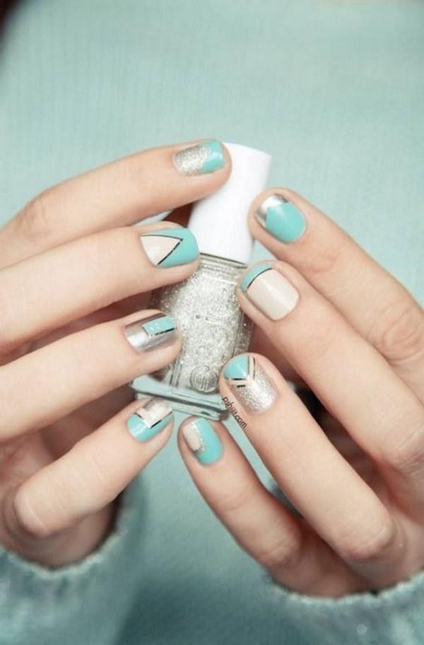 diseños de uñas metalizadas a 3 colores