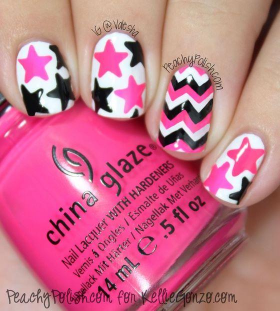 estrellas rosas y negras para uñas naturales