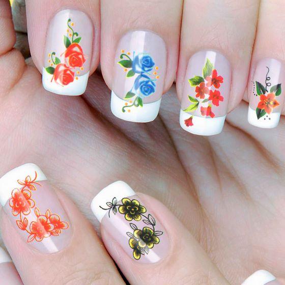 pegatinas de rosas para las uñas