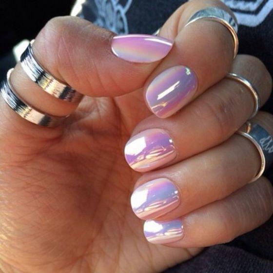 pegatinas de uñas rosa espejo
