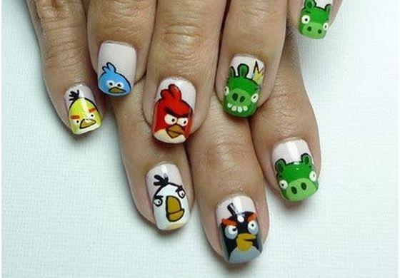 sticker de uñas angry birds