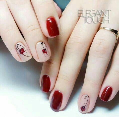 Uñas Con Flores Rojas (3)