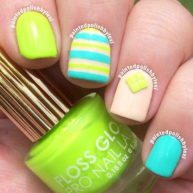 decoracion uñas verdes cortas