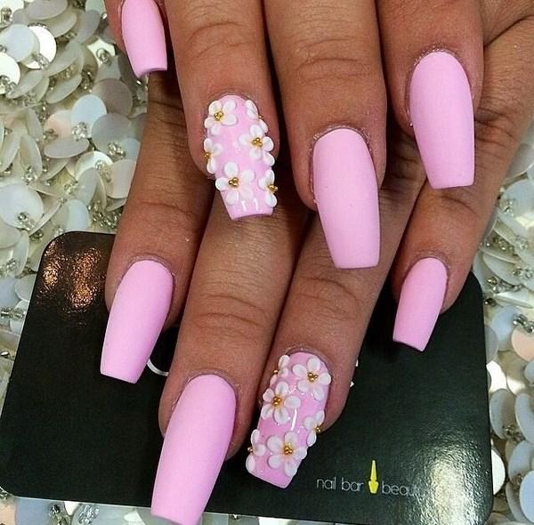 diseño para uñas rosa