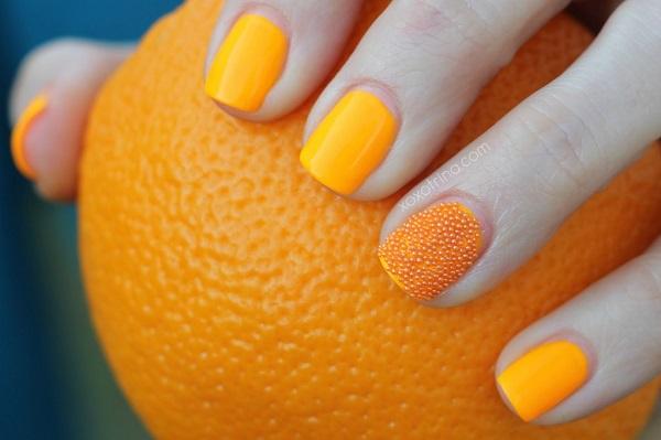 uñas amarillo naranja
