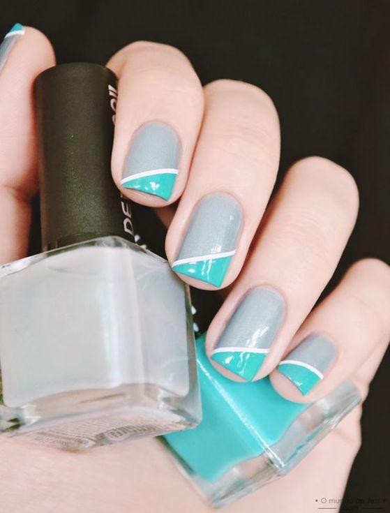 uñas con cintillas y dos colores