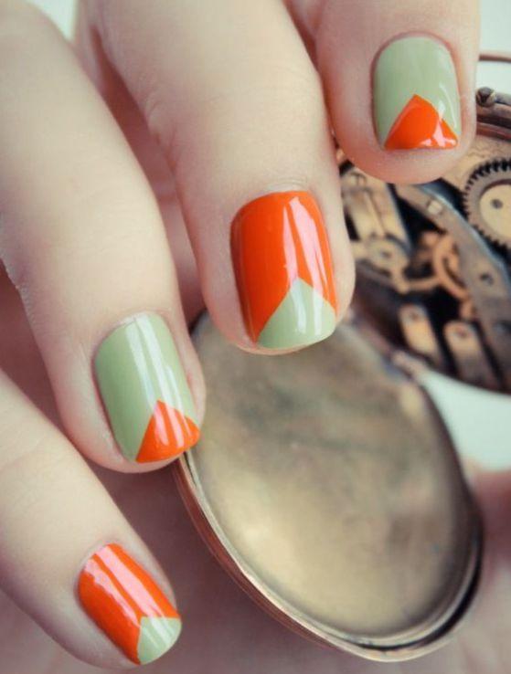 uñas cortas naranja
