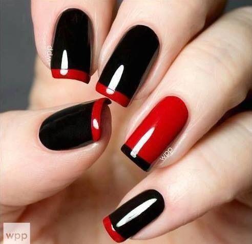 uñas negras con rojo