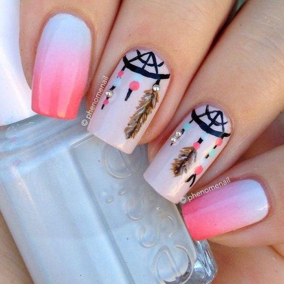 uñas rosa con diseños