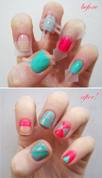 decoracion de uñas con cintas