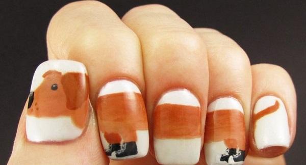 decoracion de uñas con perro salchicha