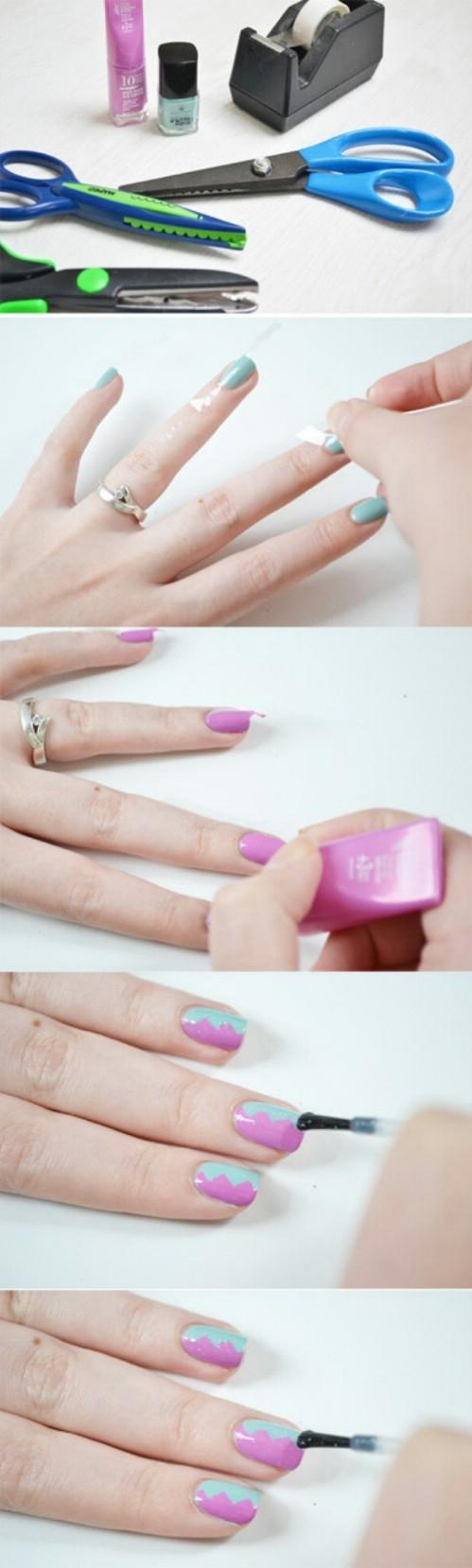 decoracion de uñas cortas con cinta