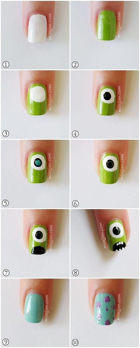 decoracion de uñas monster ink