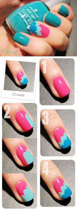 decoracion de uñas nubes de colores
