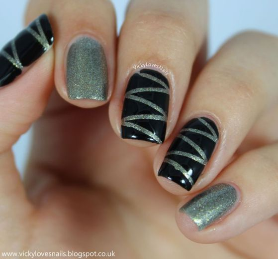 decorando uñas acrilicas negro y plateado