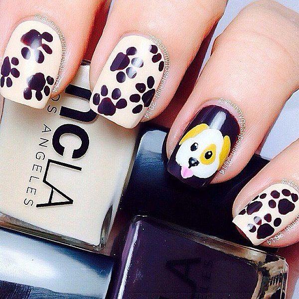 decorando uñas con perros