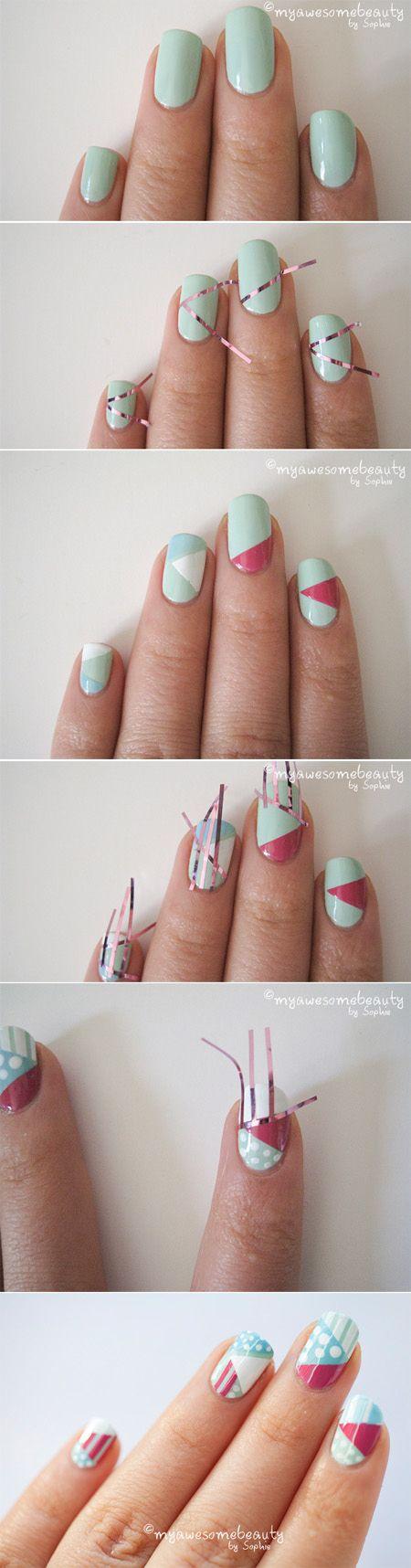 diseño de uñas con cintas y colores