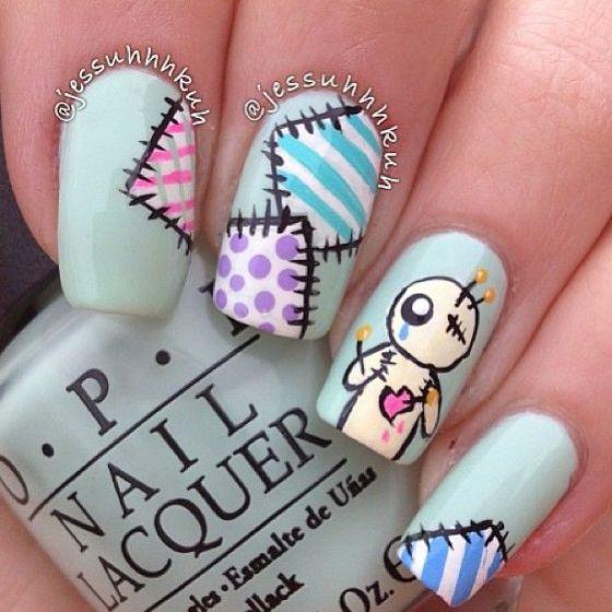 diseño de uñas largas azules