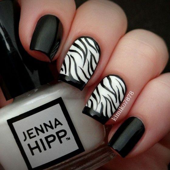 uñas acrilicas blanco y negro