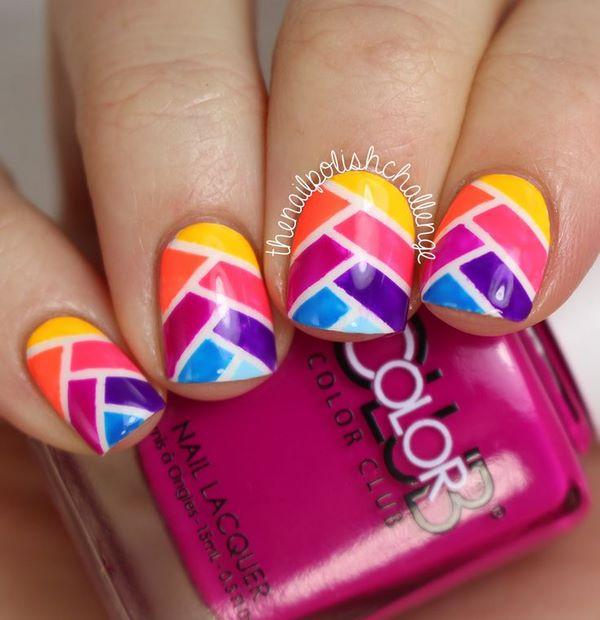 uñas de colores con cintas