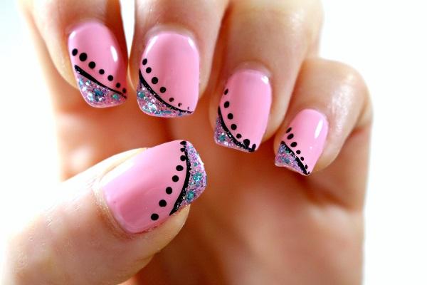 uñas de gel color rosa