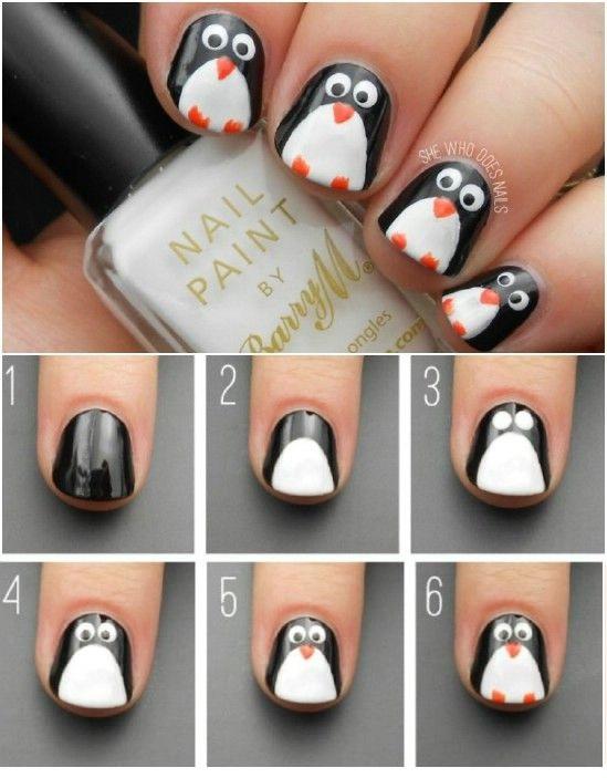 uñas decoradas con pinguinos