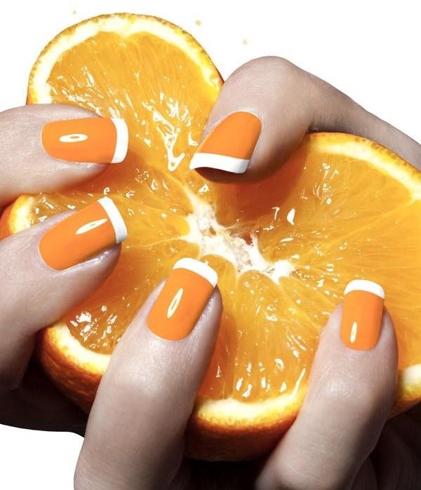 uñas de frutas naranjas