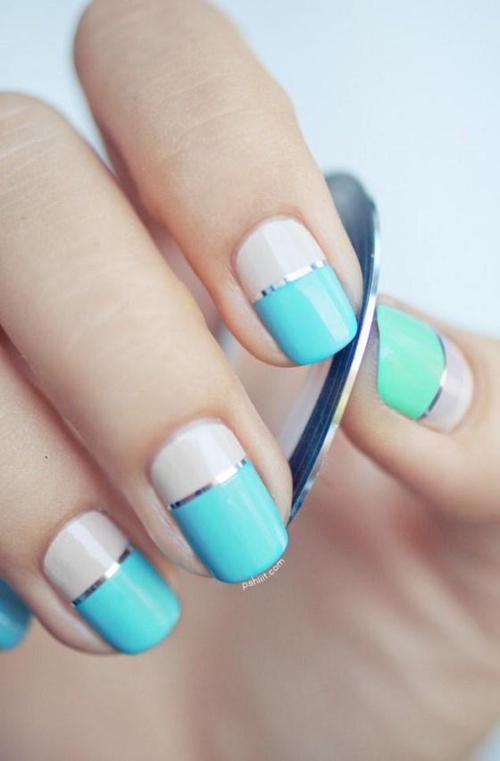 uñas decoradas con cintillas 2 colores