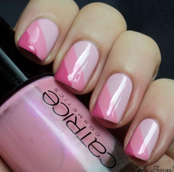 uñas rosa con cintillas