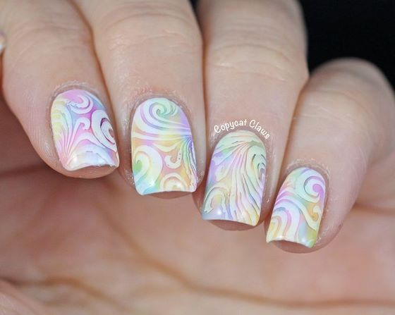 nails stamped with colors