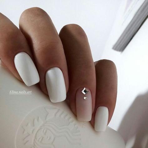 Uñas Mate Color Blanco (5)