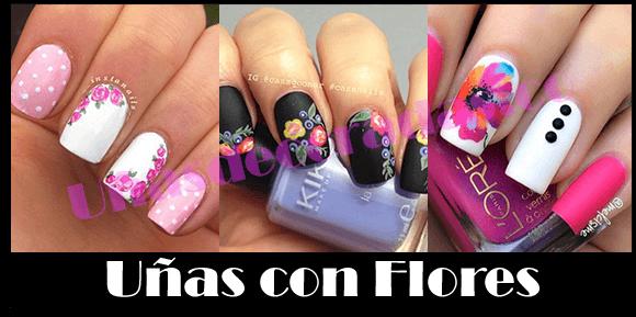 Uñas con flores decoradas