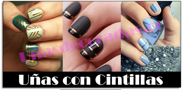 uñas decoradas con cintillas