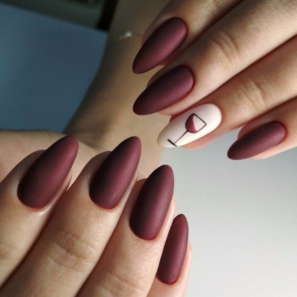 Uñas Color Vino Con Blanco (1)