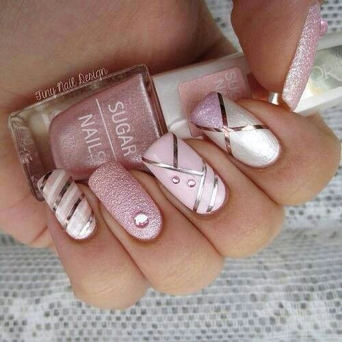 Uñas Rosa Con Cintillas (3)