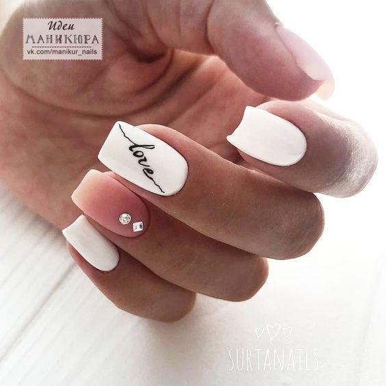 Uñas Rosa Decoradas Con Blanco (3)
