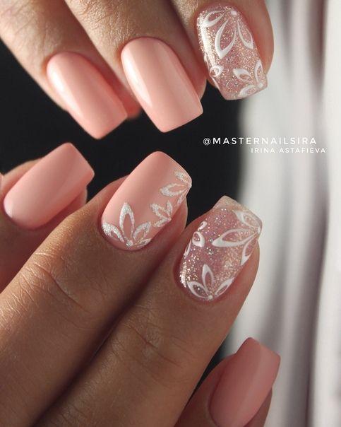 Uñas Rosa Decoradas Con Blanco (5)