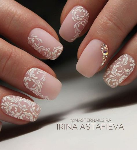 Uñas Rosa Decoradas Con Blanco (6)