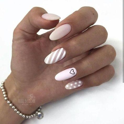 Uñas Rosa Decoradas Con Blanco (7)