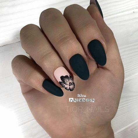 Uñas Rosadas Con Negro (1)