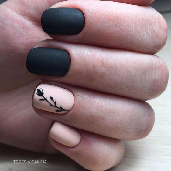 Uñas Rosadas Con Negro (12)