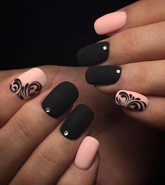 Uñas Rosadas Con Negro (5)