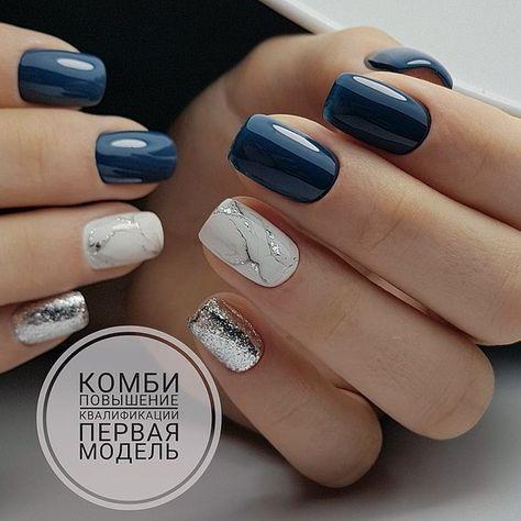Uñas Plata Con Azul (7)