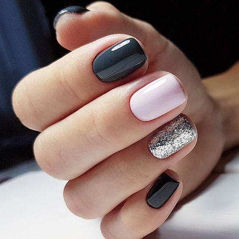 Uñas Plata Con Negro (3)