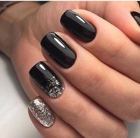 Uñas Plata Con Negro (4)